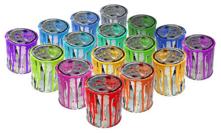 paint can: Isolated group of rusty tins metal paint.