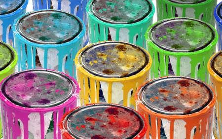 drippings: Antecedentes del grupo aislado de las latas de metal oxidado pintura.