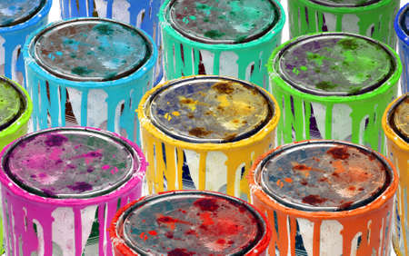 Background of isolated group of rusty tins metal paint. photo