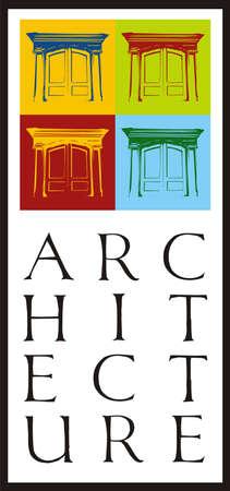 contraste: Cuatro puertas de alto contraste. Icono de la arquitectura Vectores