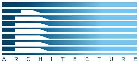 Lignes bleus et blancs formant un bâtiment.