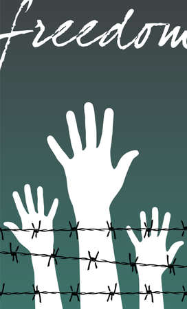 Illustration of white hands behind a barbed wire prison with the word Freedom written. Vector file available. Illustration