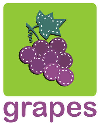 A bunch of grapes over a green background. Vector available Stock Vector - 4899779