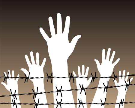 Illustration of white hands behind a barbed wire prison. Vector file available. Illustration