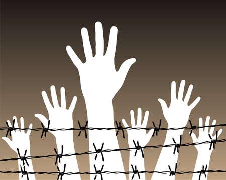 fuga: Illustration of white hands behind a barbed wire prison. Vector file available. Ilustração