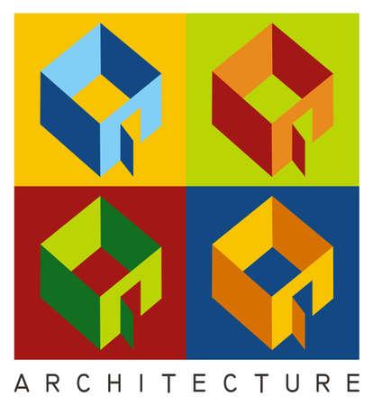 contraste: Colorida ilustraci�n de cuatro modelos de vivienda en alto contraste Vectores