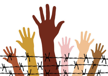 Diversity hands behind a barbed wire. Vector available. Vector