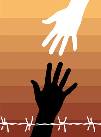 interracial: Echar una mano a otra detr�s de un alambre de p�as. Vector disponibles.