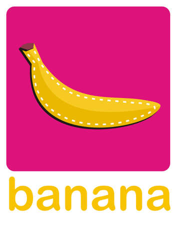 An icon of a banana over a pink background.Vector available  Vector