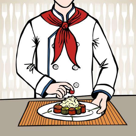 seasoned: Chef seasoning an exquisit dish of sushi Illustration