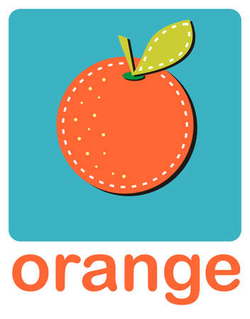 An icon of an orange over a turquoise background.Vector available  Vector