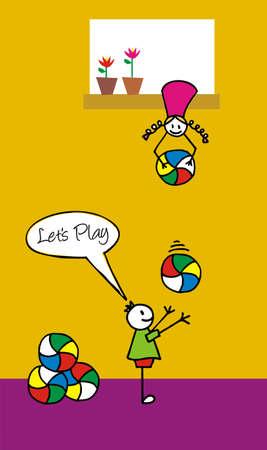 Dos niños jugando con pelotas de colorido en el patio trasero. La niña está lanzando una pelota al niño de una ventana superior. Foto de archivo - 4987294
