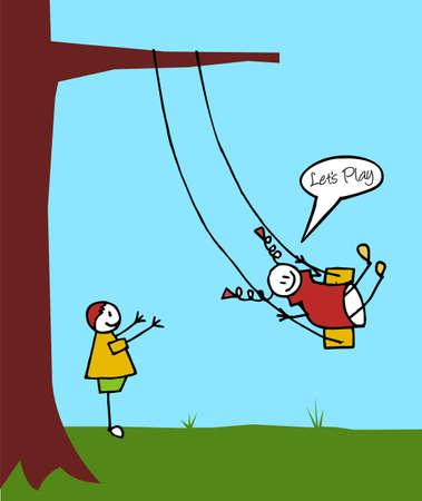 Two children swinging in garden. A boy is swinging a girl. Vector