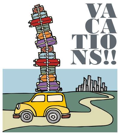 summer tires: Ilustraci�n de un coche divertido, con un mont�n de equipaje en el techo y huir de la ciudad. Vector archivo disponible. Vectores