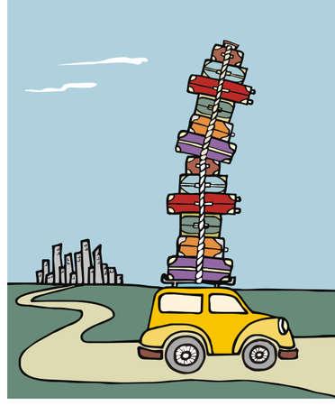 summer tires: Ilustraci�n de un coche divertido, con un mont�n de equipaje en el techo con una ciudad en el fondo. Vector archivo disponible.