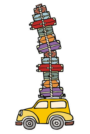people traveling: Illustration of a funny car with a lot of luggage on the roof. Vector file available.