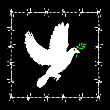 Dove of peace framed in a barbed wire. Vector available. Vector