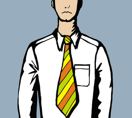 Unhappy man in shirt and tie. Vector