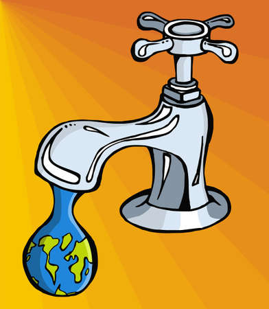 Leaking faucet the earth planet shaped drop