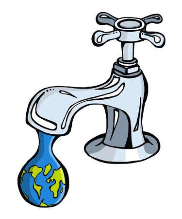 conserve: Fuite de robinet de la plan�te terre en forme de goutte Illustration