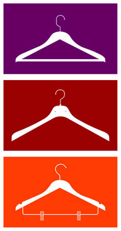 closets: Three clothes hangers. Vector available