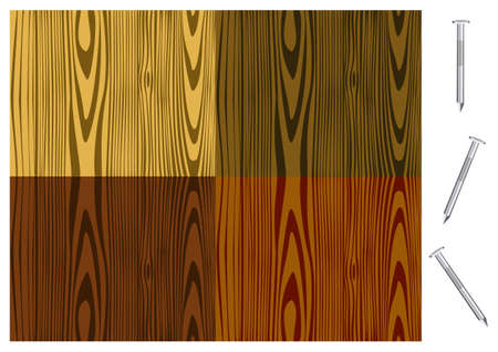 Illustration of wood patterns in different tones with isolated nails  Vector