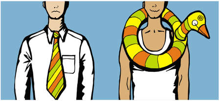 Contrast between a man in tie and a man using a duck water inflatable arround his neck. Stock Vector - 5200724