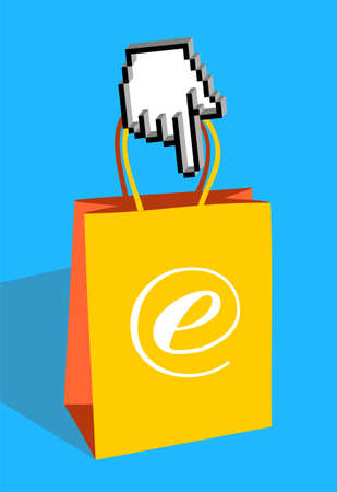 Icon hand pointing an e-commerce bag Stock Photo - 5219699