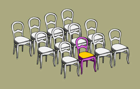 one of a kind: Group of identical chairs and one different