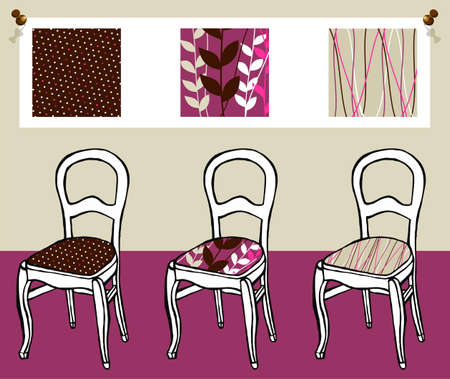 upholstered: Three different upholstered chairs with respective hanging tapestry patterns in the background