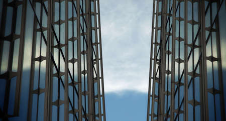 technologic: Technologic background with metallic structure and a sky partially clear. Stock Photo