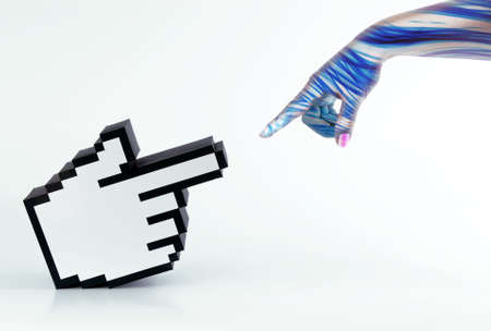 A human print hand interacting with a hand cursor Stock Photo - 5276635