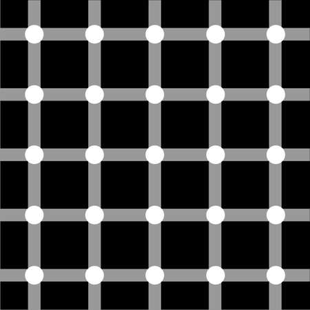 illusions: Optical art grid in black and grey with white dots