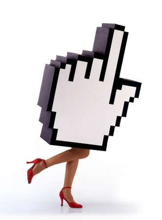 E-commerce hand cursor with woman legs, in a hurry to close business. White background Stock Photo - 5358730