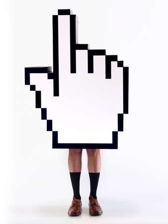 E-commerce hand cursor with the legs of a man, ready to close business. White background photo
