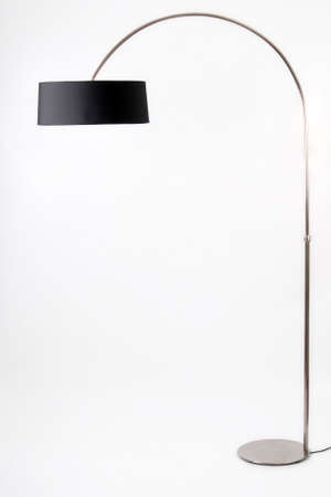 floor lamp: Contemporary metallic and black floor lamp on white background