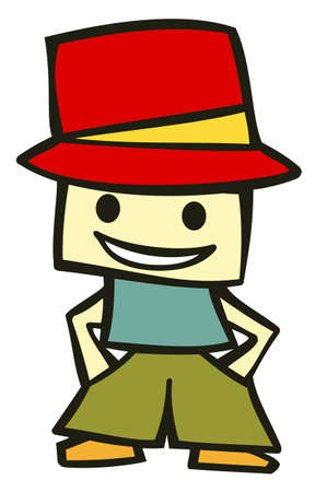 cool dude: Friendly boy with his hands in his pockets and a funny red hat. Suitable for comics or cartoon character. Vector available Stock Photo