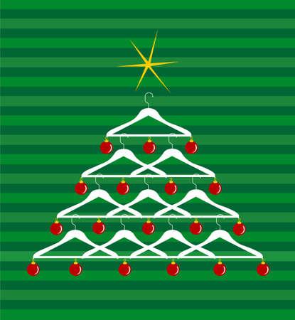 ornated: Albero di Natale fatto di appendiabiti ornato con palline rosse. Yellow star lucido sulla parte superiore. Sfondo verde a strisce. Vettoriale disponibile
