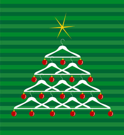 clothes rack: Christmas tree made of clothes hangers ornated with red balls. Yellow shiny star on top. Green striped background. Vector available