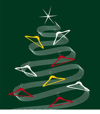 clothing rack: Christmas tree made of white lines decorated with clothes hangers. Shiny white star on top. Green background. Vector available