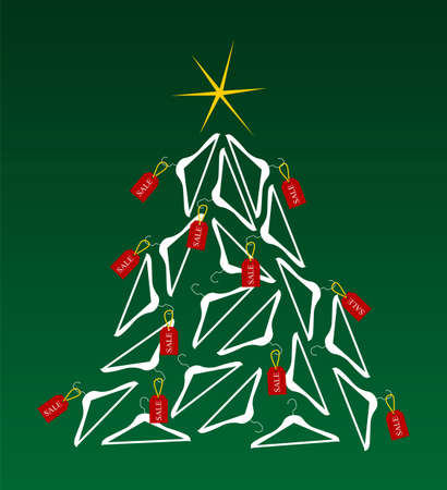 available: Christmas tree made of clothes hangers ornated with red sale labels. Yellow shiny star on top. Green background. Vector available Stock Photo