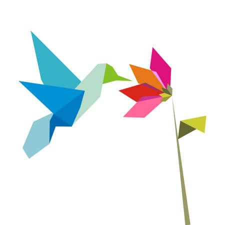 Colibrí de colores pastel de papiroflexia y flor sobre fondo blanco. Archivo de vector disponible.