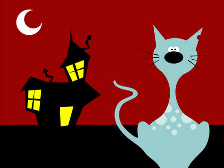 Halloween night cat on a scary background. Vector available photo