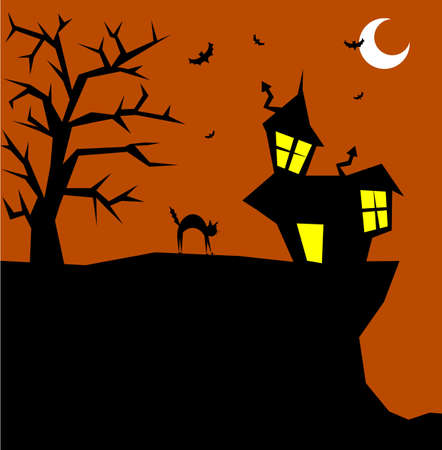 Halloween cat bristling on a scary background. Vector available photo