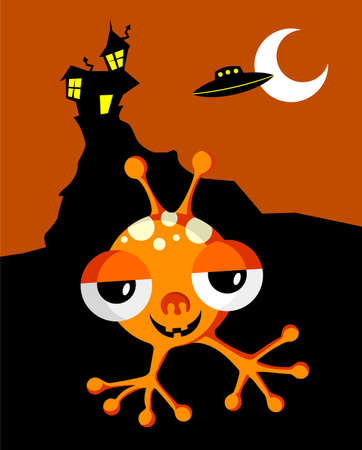 monsters house: Funny Space Monster On Halloween Background. Vector available