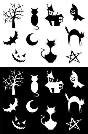 Halloween silhouettes set, element for design, on white and black background. Vector illustration.  illustration