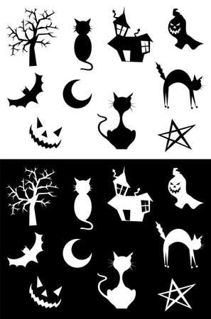 Halloween silhouettes set, element for design, on white and black background. Vector illustration.  illustration