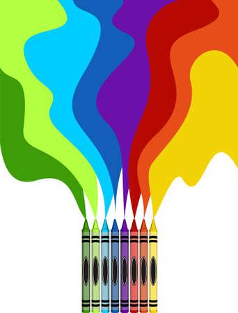Acht kleurrijke kleurpotloden en regenboogtekening die op witte achtergrond worden geïsoleerd Vector Illustratie