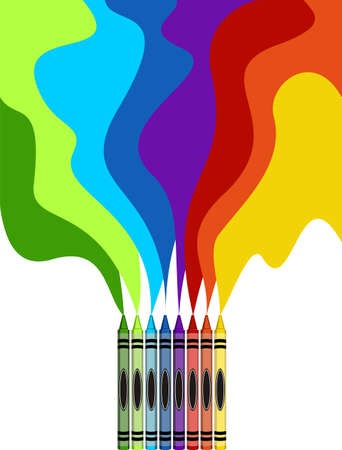 large group of object: Eight colorful crayons and rainbow drawing isolated on white background