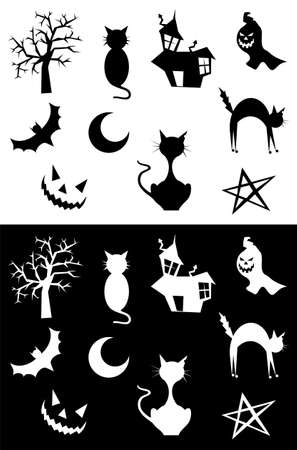 Halloween silhouettes set, element for design, on white and black background. Vector illustration.  Vector